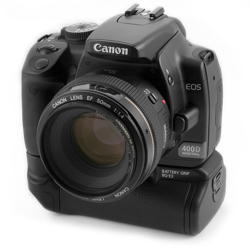 Canon 400D met battery grip