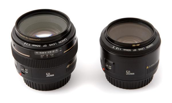 Canon EF 50mm f/1.8 II (rechts)