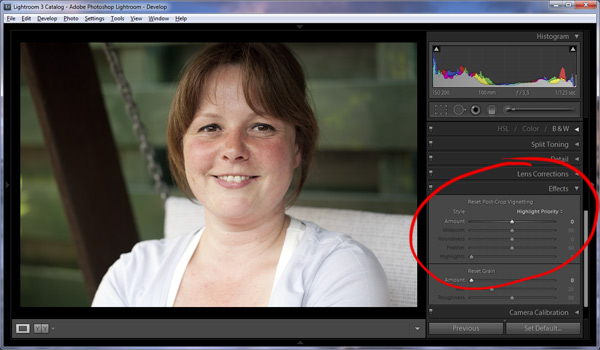 Adding a vignette in Lightroom