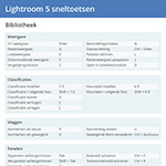 Download gratis Lightroom 5 sneltoetsen cheatsheet
