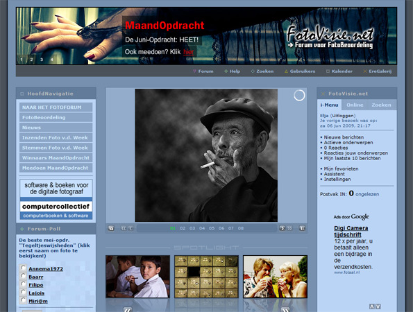 Screenshot: Fotovisie homepage