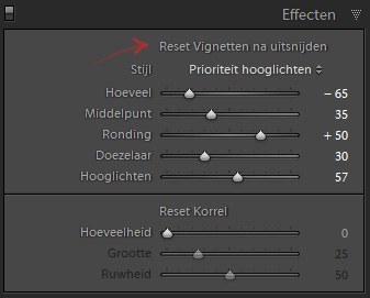 Lightroom reset item