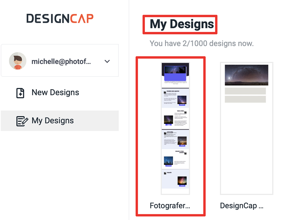 DesignCap My Designs