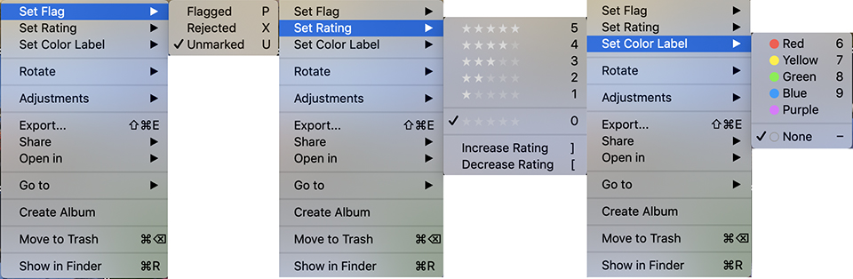 Luminar set ratings flag color label