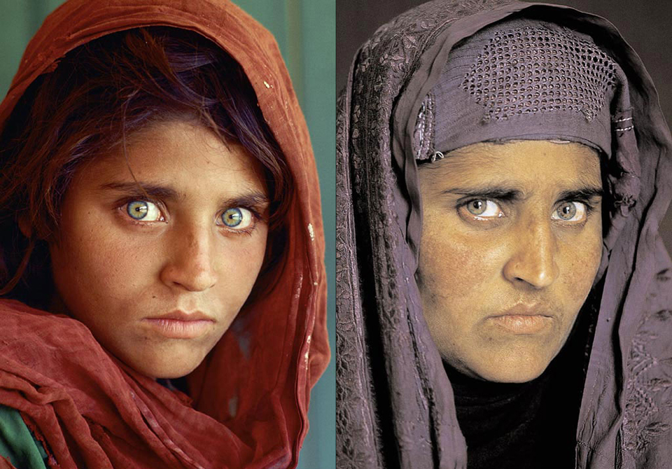 Afghan girl in 1985 and in 2002