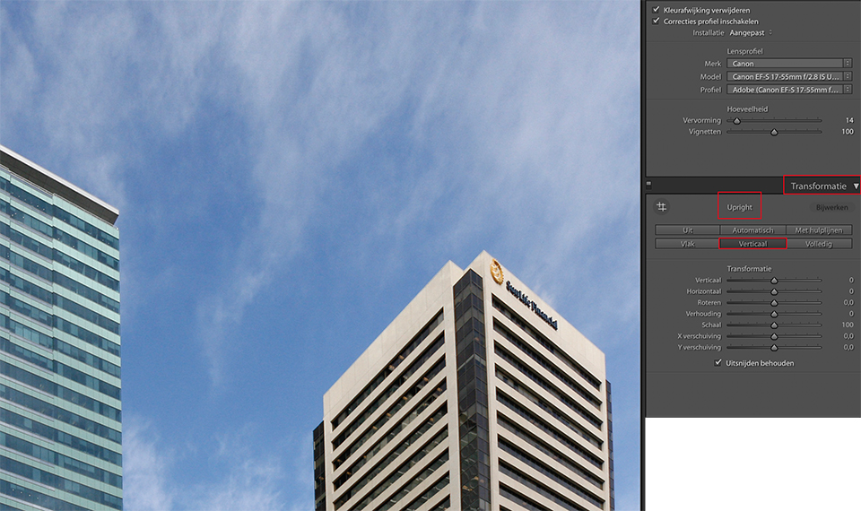 Lightroom perspectief corrigeren upright