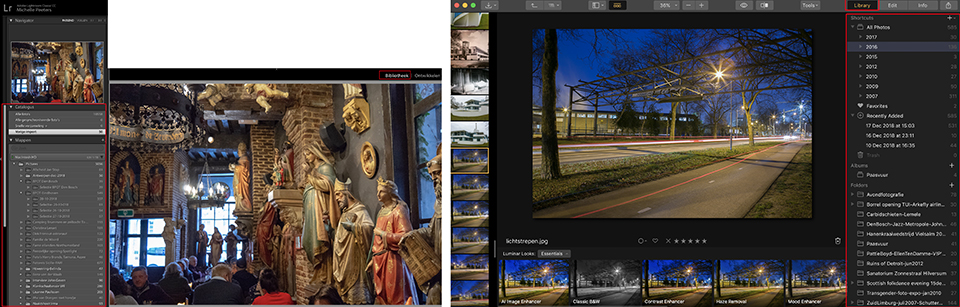 Lightroom versus luminar library
