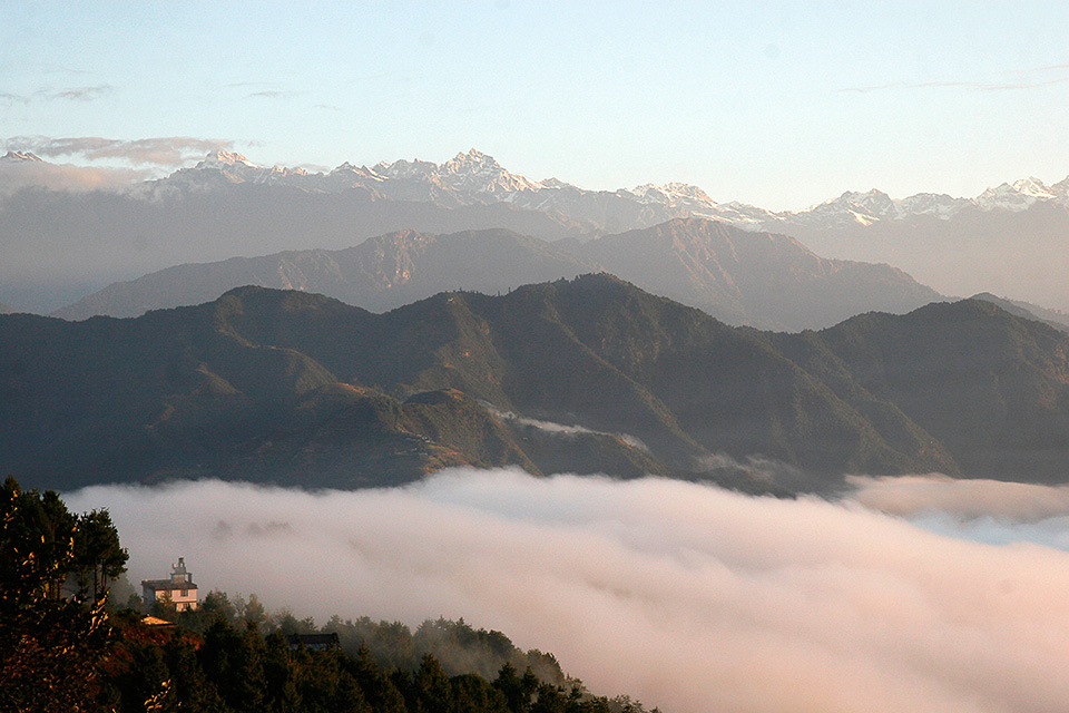 Nepal sunrise low fog