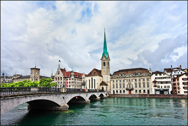 Zurich old town seen from the river