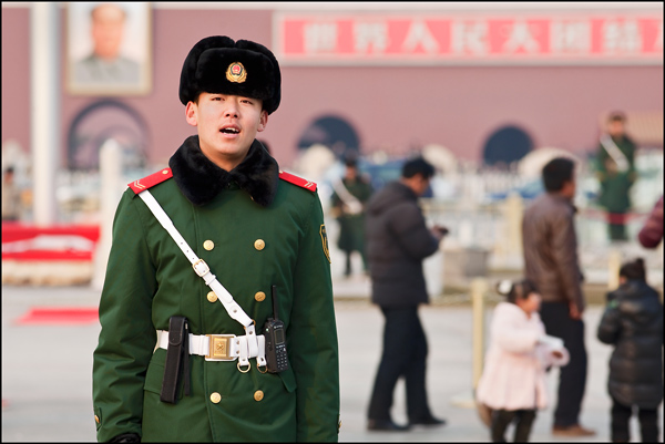 Angry honor guard at Tiananmen Square